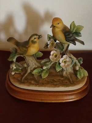 Andrea by Sadek Birds Large Figurine Pair of Warblers Signed w/ Base