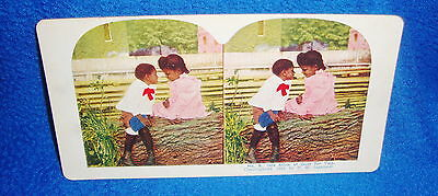 Vintage Black Americana Stereoview Card One Stick of Gum for Two Ingersoll 1898