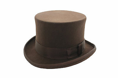 100% Wool Felt Brown Wedding High Quality Event Top Hat With Satin Lining