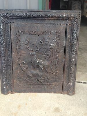 Antique Fire Front With Frame Cast-Iron Buck And Doe