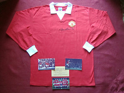 Manchester United Sir Bobby Charlton Signed Retro Home Shirt-Xl-New- Photo Proof