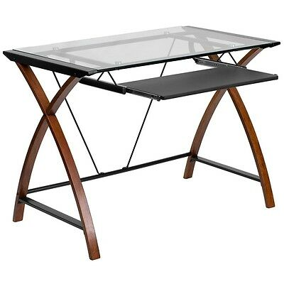 Glass Computer Desk with Pull-Out Keyboard Black Powder Coated Frame Finish