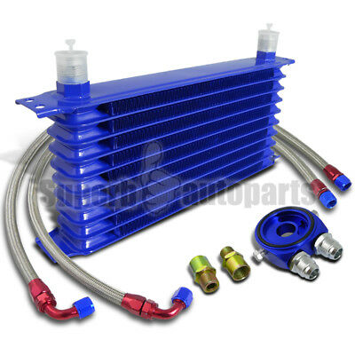 """10-Row Engine Oil-Cooler+M20 Sandwich Adapter Blue+2PC 48"""" S/S Braided Hoses"""