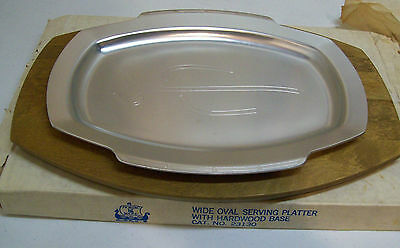 New In Box Vintage Nordic Ware Wide Oval Serving Platter with Hardwood Base