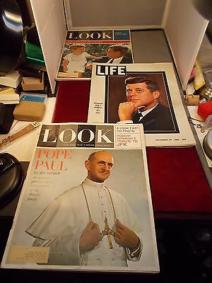 "LOT OF 3 OLD VTG MAGAZINES ABOUT JFK, POPE PAUL, NOV. 29,1963 ""LIFE"", DEC ""LOOK"""