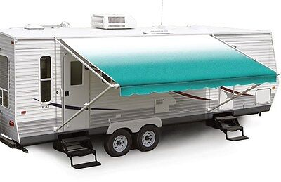 """19' Teal Fade w/Wht W/G, RV Patio Awning Repl. fabric canopy (Fabric:18'2"""")"""