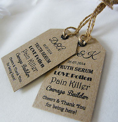Personalised Wedding Drink Minature Bottle Favour Tags Vintage Luggage Label