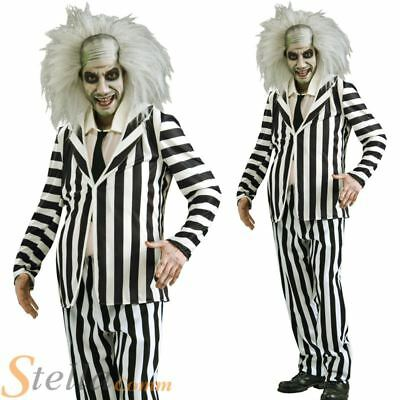 Mens Beetlejuice Costume 80s Halloween Ghost FancY Dress Adult Outfit