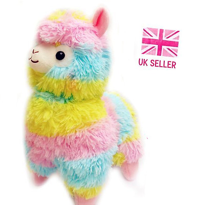 Large Cute Multicoloured Rainbow Alpaca Plush 38cm Tall Kawaii Giant Llama Gift