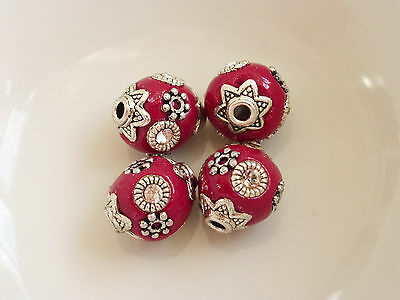 4 x Handmade Indonesia Clay Beads Cherry Red 10mm Round, UK Seller     (OBT5007)