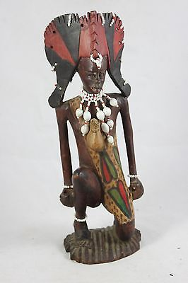 "Carved Wooden Tribal Figure Beads Shells 11 1/4"" tall     EC"
