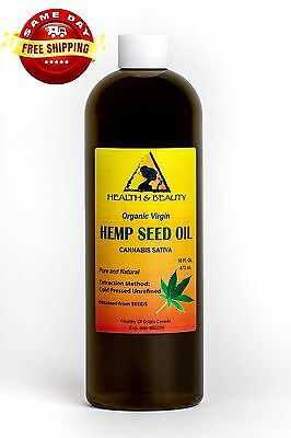 Hemp Seed Oil Unrefined Organic Carrier Virgin Cold Pressed Raw Pure 16 Oz