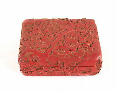 Antique Chinese Hand Carved Cinnabar Box Sakura Blossom