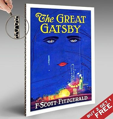 THE GREAT GATSBY A4 Poster Vintage Blue Picture Book Cover F SCOTT FITZGERALD