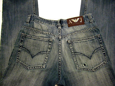 ARMANI JEANS W30 x L28 Blue Straight Leg, Button Fly Jeans