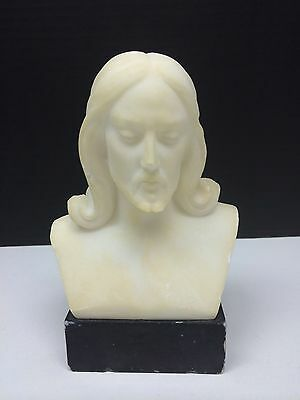 """Vintage Jesus Christ Real White Marble Bust Figurine 6""""  Made in Rome Sculpture"""