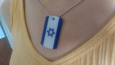 Israel Flag Metal Dogtag Show support to the Jewish state star david. Necklace