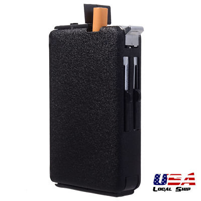 Automatic Ejection Butane & Cigarette Case Lighter Windproof Metal Box Holder
