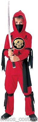 Kids Childrens Red Ninja Samurai Suit Outfit Warrior Complete Costume