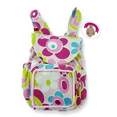 Teddy Clothes fits ON Build a Bear Teddies & Dolls Flower Zip Backpack Bag