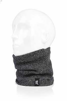 Heat Holders - Mens Thermal 2.6 tog Fleece Knitted Snood Scarf Neck Warmer Grey