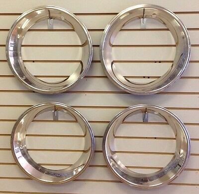 """15"""" 2.5"""" Deep Stainless Steel Beauty Trim Ring Set of 4 Fits 15x7 Rally Wheels"""