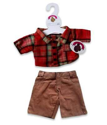 Teddy Clothes fit Build a Bear Teddies Red Check Shirt & Trouser Outfit Clothing