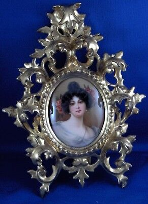 Super German Art Nouveau Porcelain Lady Portrait Plaque Porzellan Bild Scenic