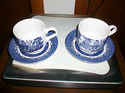 Churchill England Blue Willon Cups and Saucers Lot of 2 Sets