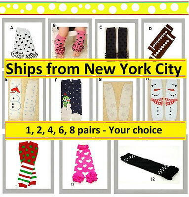 2 4 6 8 pairs Baby leg arm warmer football birthday set lot NY girl boy xmas