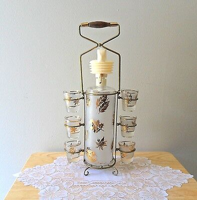 Vintage Libbey Gold Leaves Decanter with Caddy 6 Shot Glasses