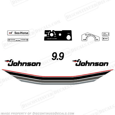 Johnson 1985 9.9hp Outboard Decal Kit - Discontinued Decal Reproductions! 9.9 hp