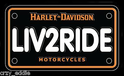 Harley Davidson Liv2Ride License Plate Decal **Made In The Usa **
