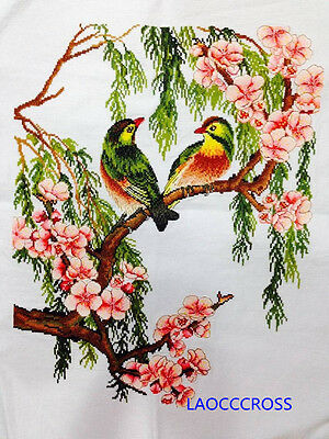 "Finished completed Cross stitch""Flowers and birds""needlepoint free shipping"