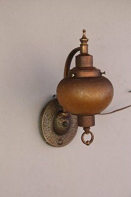 1920s Amber Outdoor Exterior Lantern Sconce Light Antique Tudor Cottage (7183)