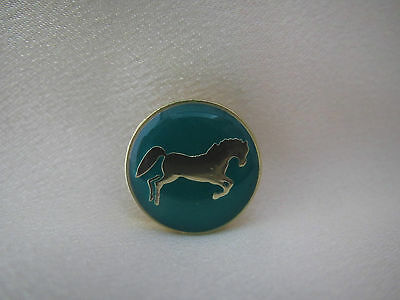 Horse button size lapel pin on green back ground  (Tie Tac)  New
