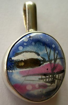 Bold Sterling Silver Pendant Hand Made Enamel Winter European 6.5 Gr