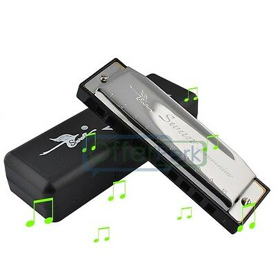 High Quality Silver Special Swan Harmonica 10 Holes Key Of E Silver with Case