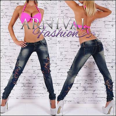 SKINNY STRETCH JEANS womens DENIM PANTS ladies CELEB TROUSERS lace 6 8 10 12 14