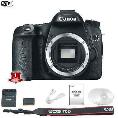 NEW Canon 70D Digital SLR Camera Body Only 20.2 MP 1080p HD