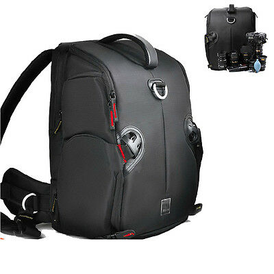 DSLR Camera Backpack Shoulder Waterproof Bag Case Nikon Canon EOS Sony+Raincover