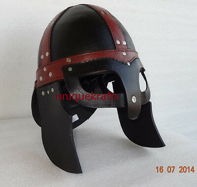 Medieval Viking Leather Helmet with spectacles cosplays larp halloween mask prop