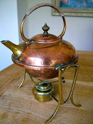 ARTS & CRAFTS BENSON STYLE MARKED KETTLE ON STAND ANTIQUE COPPER & BRASS NO RES