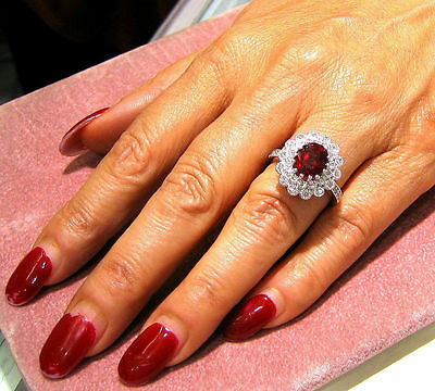 14k white gold oval cut ruby and round cut diamonds deco antique ring 3.25ctw