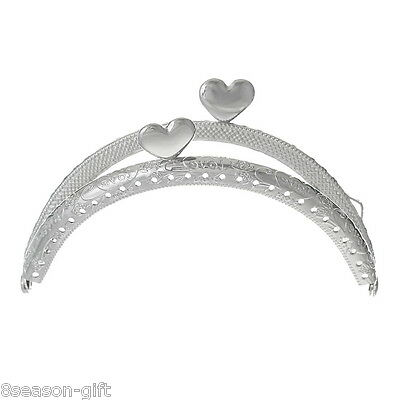 "1PC Metal Frame For Purse Silver Tone Heart ""Love"" Carved 10.7x6.5cm"