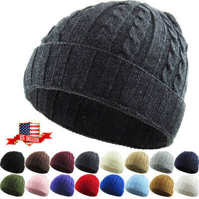 521339b6a78 Cable Knit Winter Warm Crochet Hat Braided Baggy Beret Cuff Fold Beanie Cap