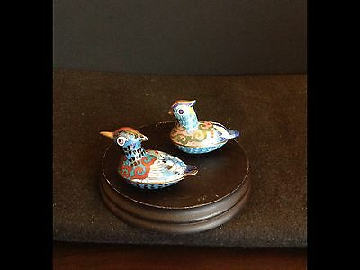 Pair of Small Chinese Cloisonne Enamel Boxes in the Form of Mandarin Ducks.