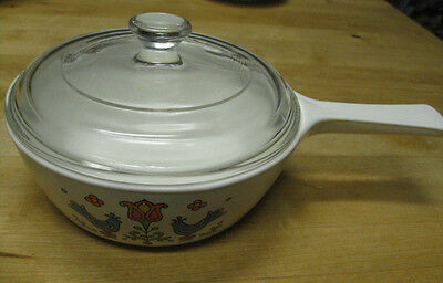 Corning Ware Blue Bird Friendship Stove Top 4 5/8 Inch Skillet with PYREX LID