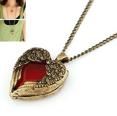 Hot Fashion Retro Elegant Angel Wings Red Peach Heart Resin Pendant Necklace
