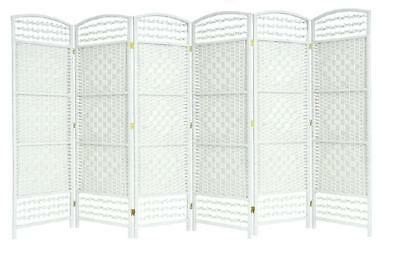 Hand Made Wicker Room Divider / Privacy Screen - White 4/6 Panels